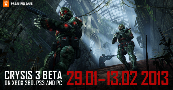 BECOME THE DEADLIEST HUNTER ON THE PLANET AS EA AND CRYTEK DELIVER THE CRYSIS 3 MULTIPLAYER BETA COMING JANUARY 29